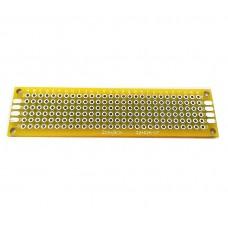 Двусторонняя печатная плата 2х8 см, желтая