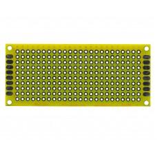 Двусторонняя макетная плата 3х7 см, желтая