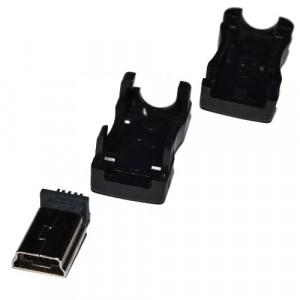 Mini USB штекер в черном разборном корпусе купить