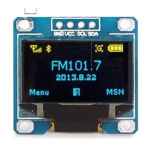 """OLED дисплей 0.96"""" 128x64, I2C желтый и синий купить"""