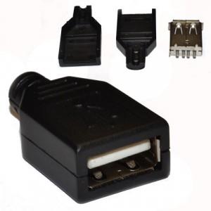 USB гнездо в черном разборном корпусе купить